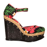 Tropical Print Studded Raffia Wedge Sandal 
